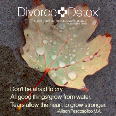 Don't be afraid to cry. All good things grow from water. Tears allow the heart to grow stronger. - Allison Pescosolido M.A.