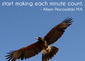 Stop counting each minute and start making each minute count. - Allison Pescosolido, M.A.