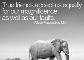 True friends accept us equally for our magnificence as well as our faults. - Allison Pescosolido, M.A.