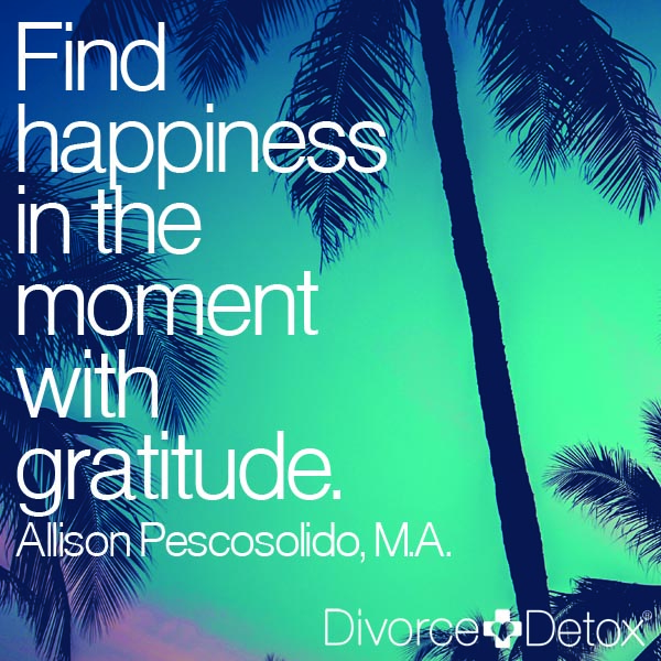 Find happiness in the moment with gratitude. - Allison Pescosolido, M.A.